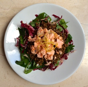 Serve this salad pre-plated, with the salmon on the top, lentils in the middle and the greens on the bottom.