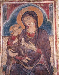 A detail from one of the many cave churches found carved into the ravines around Massafra, this fresco depicts Mary's presentation of her child to the church for the first time.