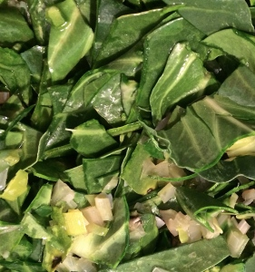 Add the cleaned Swiss chard and spinach leaves to the sauteed onions, leeks and chard stems and saute further until the greens are wilted.