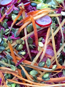A decidedly un-Pugliese salad (look at those seeds!), this one nevertheless made us happy while we long for spring.
