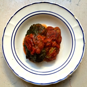 Leftover stuffed cabbage, a dish made for wintry days.