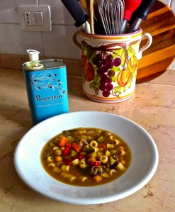 MInestrone with borlotti (scarlet runners beans), carrots, Swiss chard and ditalini (very short penne) is a cucina povera staple. Drizzled with an extra virgin olive oil that is bursting with flavor, it is exceptional